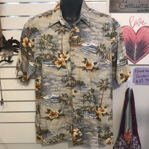 Tan Hawaiian Shirt by Pierre Cardin (L)